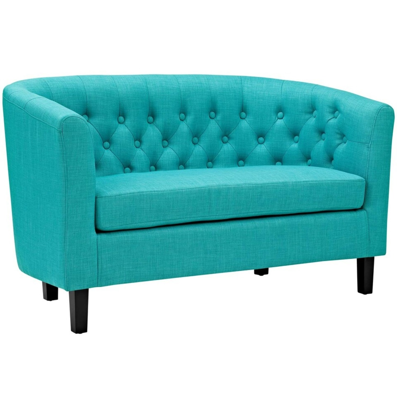 Modern Loveseat In Pure Water Fabric Upholstery - image-0