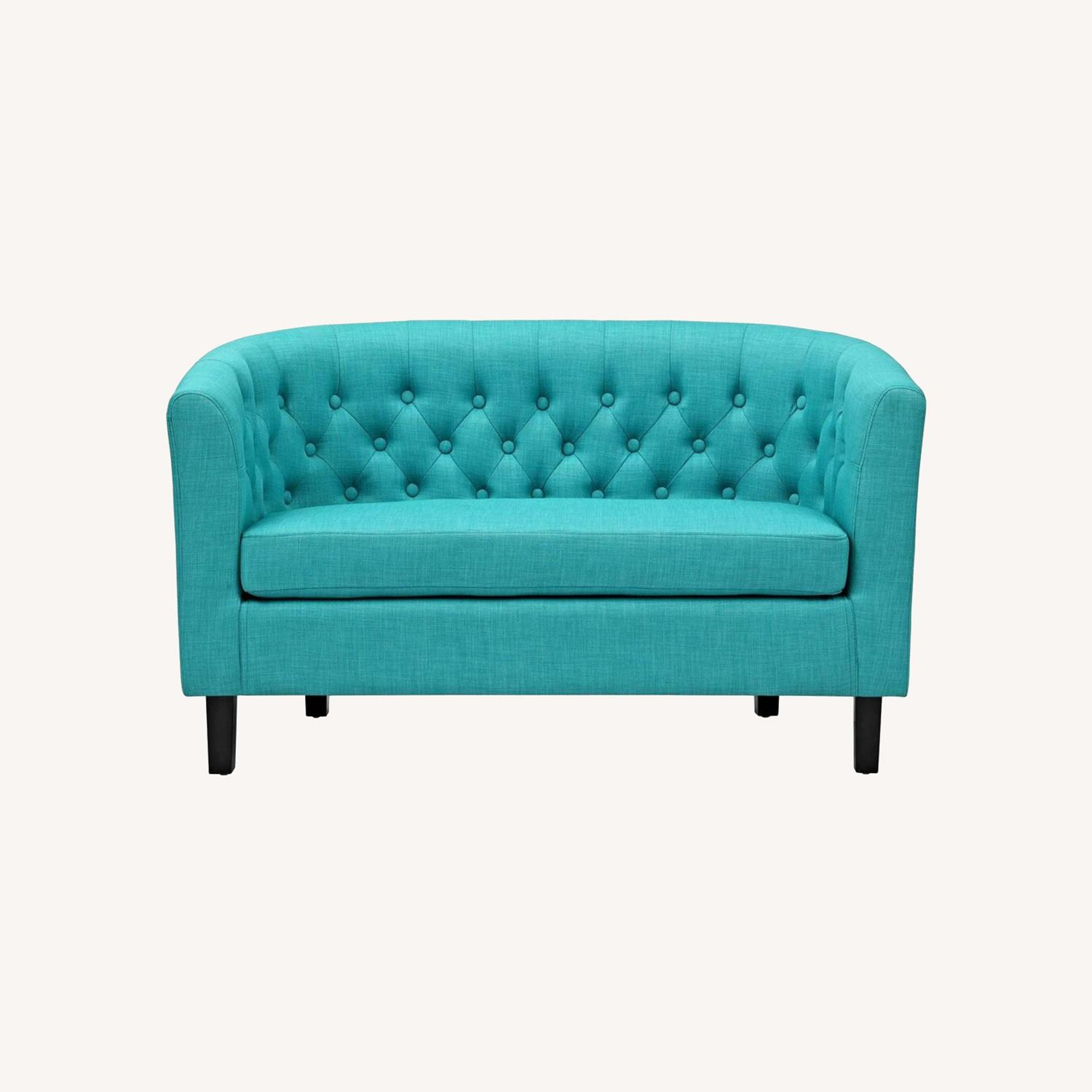 Modern Loveseat In Pure Water Fabric Upholstery - image-5