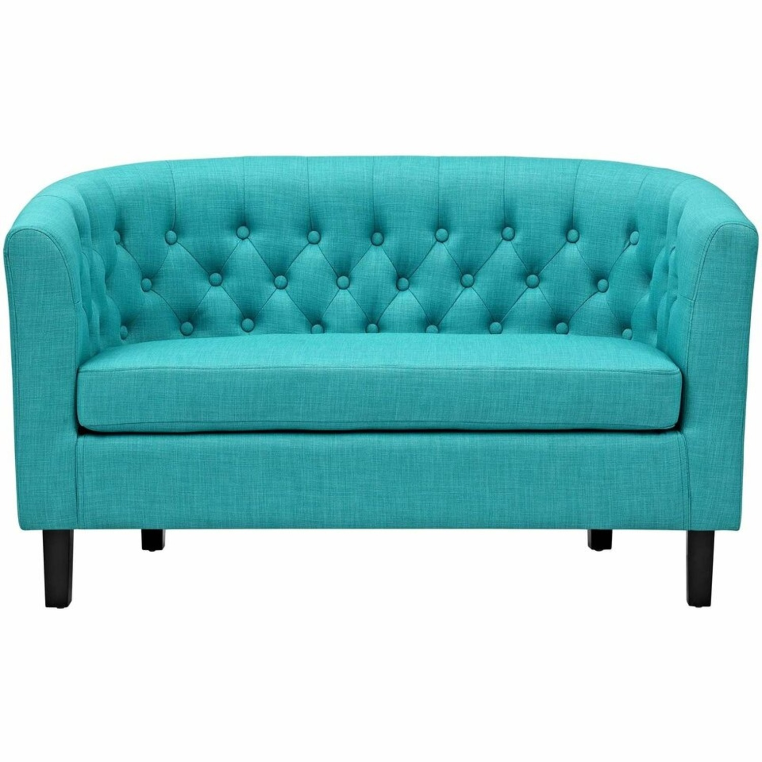 Modern Loveseat In Pure Water Fabric Upholstery - image-1