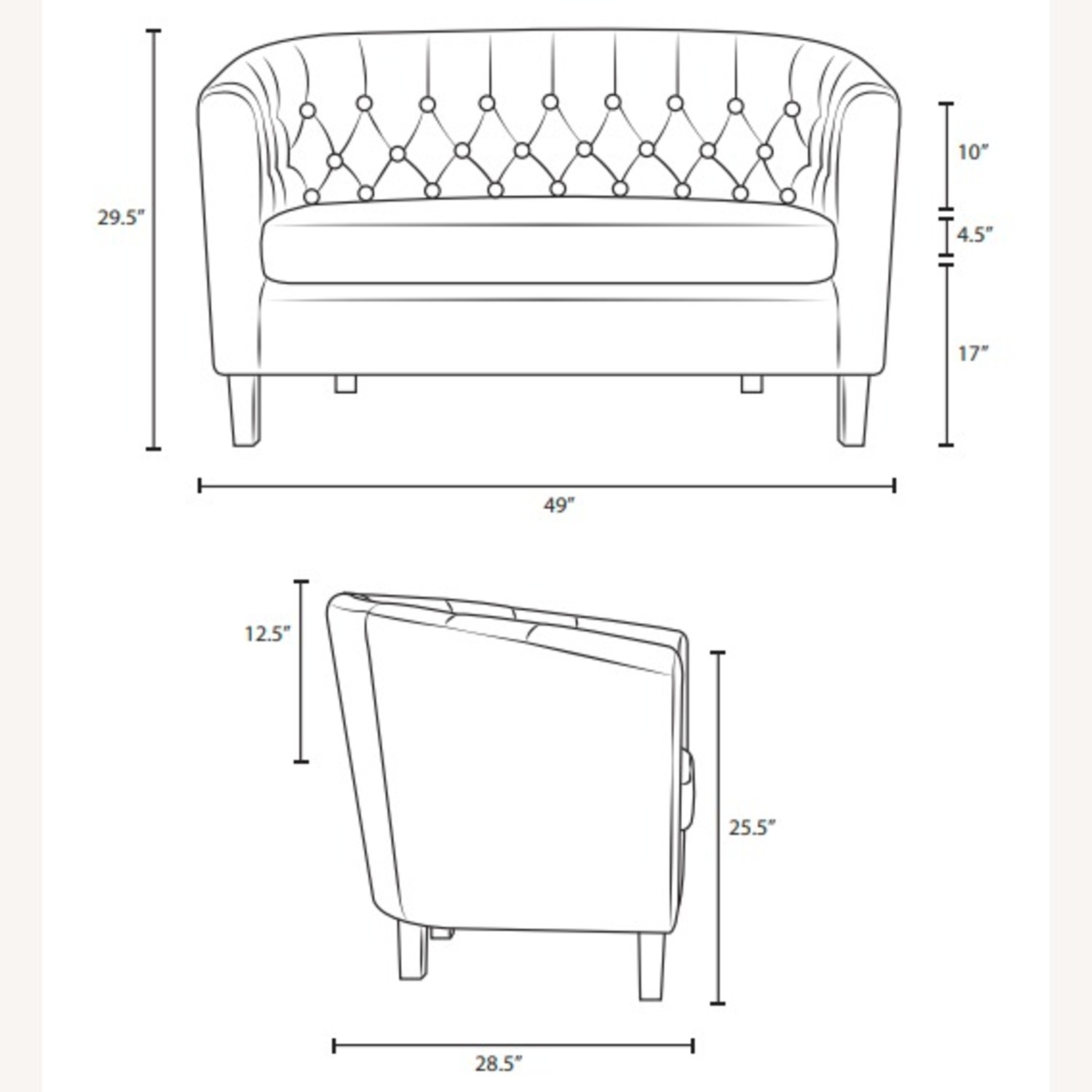 Modern Loveseat In Pure Water Fabric Upholstery - image-4