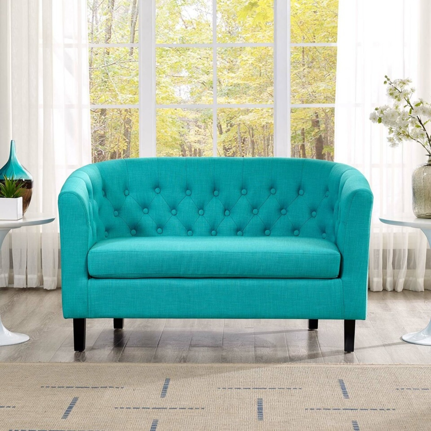 Modern Loveseat In Pure Water Fabric Upholstery - image-3