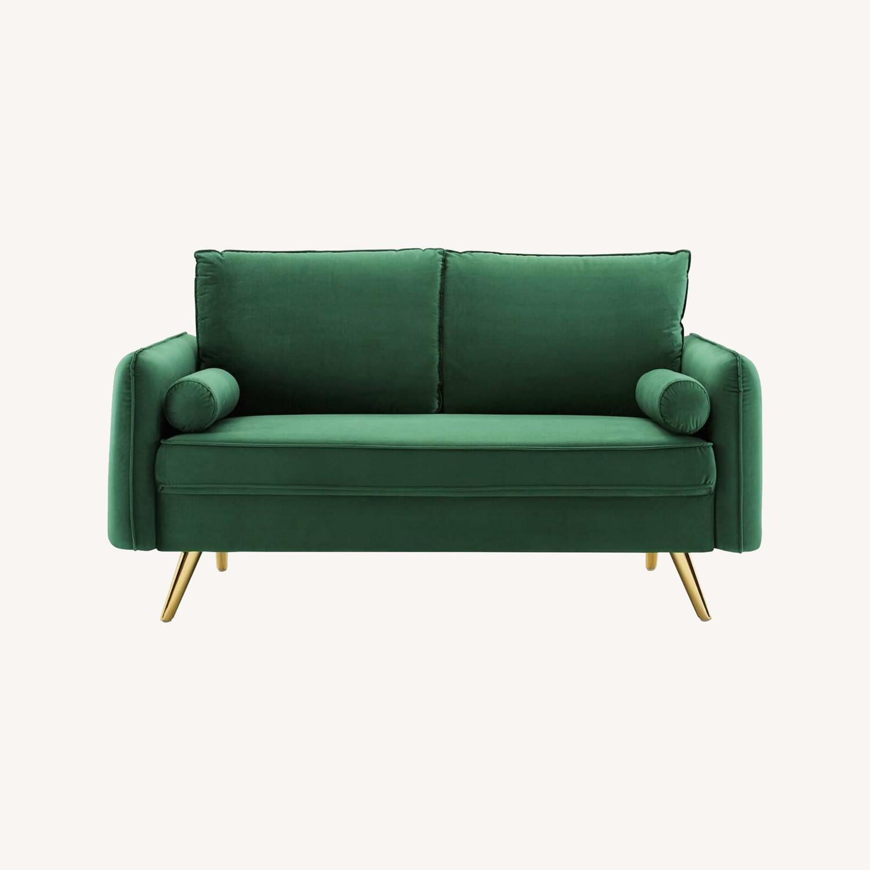 Modern Loveseat In Emerald Velvet FabricUpholstery - image-7