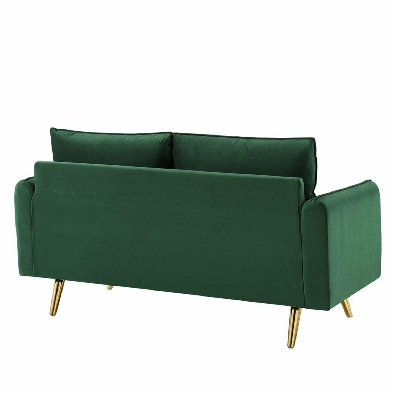 Modern Loveseat In Emerald Velvet FabricUpholstery - image-2