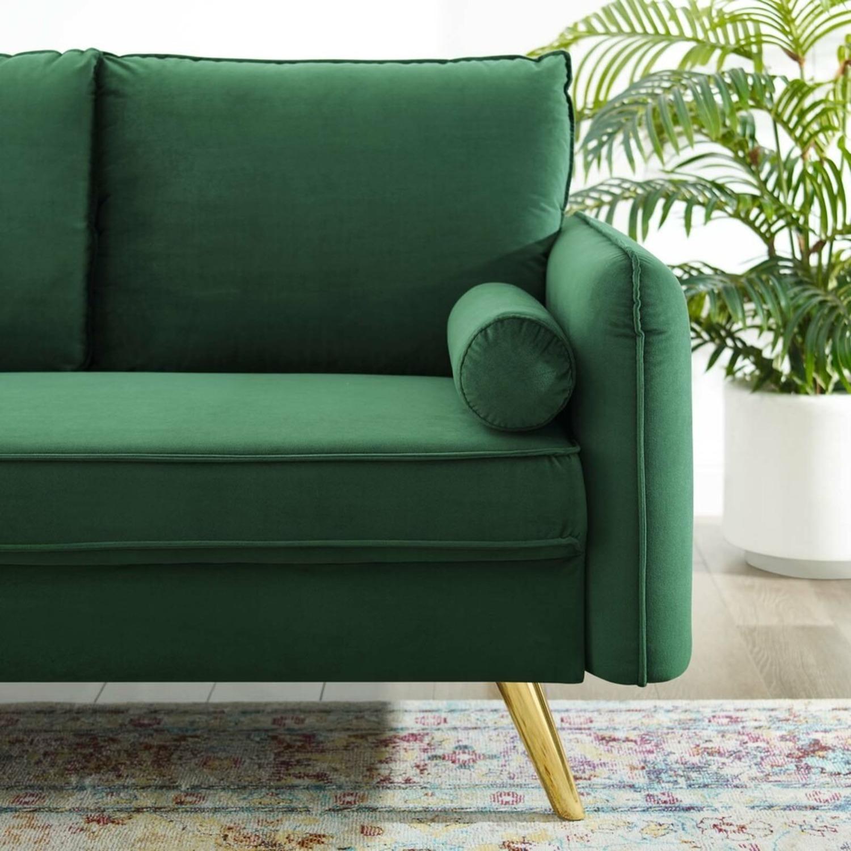 Modern Loveseat In Emerald Velvet FabricUpholstery - image-5