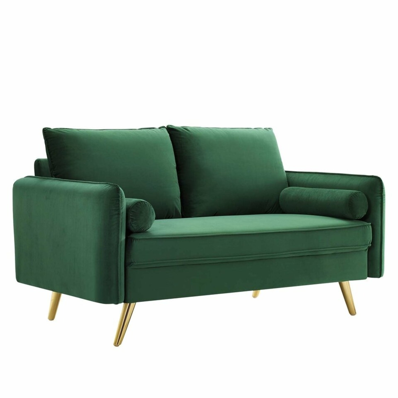 Modern Loveseat In Emerald Velvet FabricUpholstery - image-0