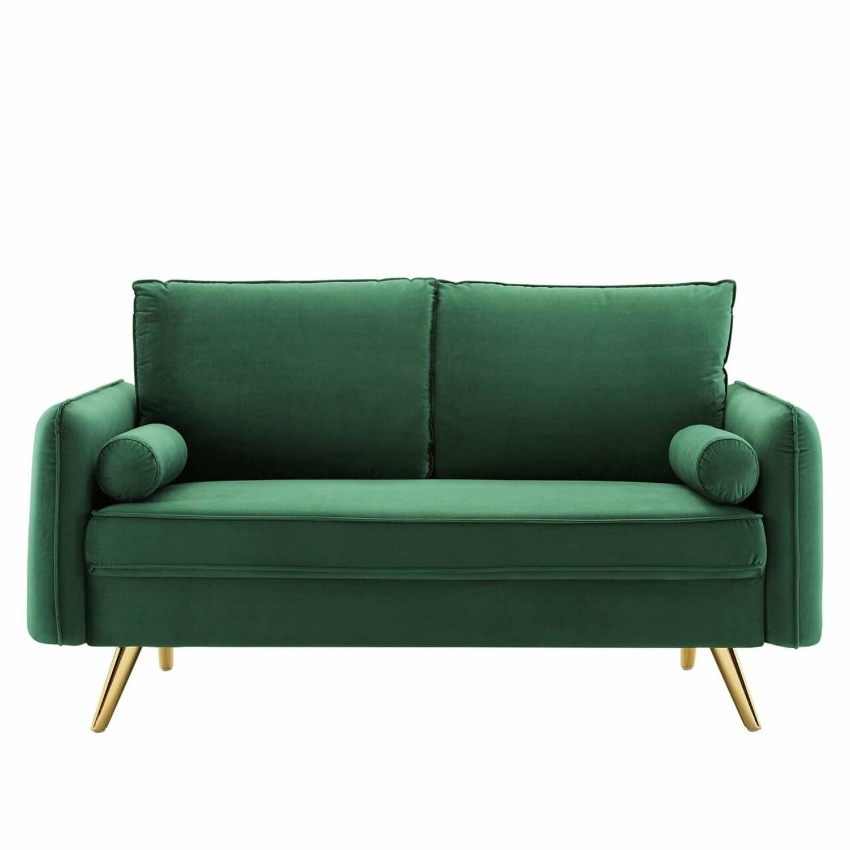 Modern Loveseat In Emerald Velvet FabricUpholstery - image-1