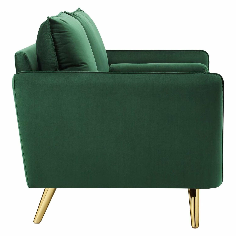 Modern Loveseat In Emerald Velvet FabricUpholstery - image-3
