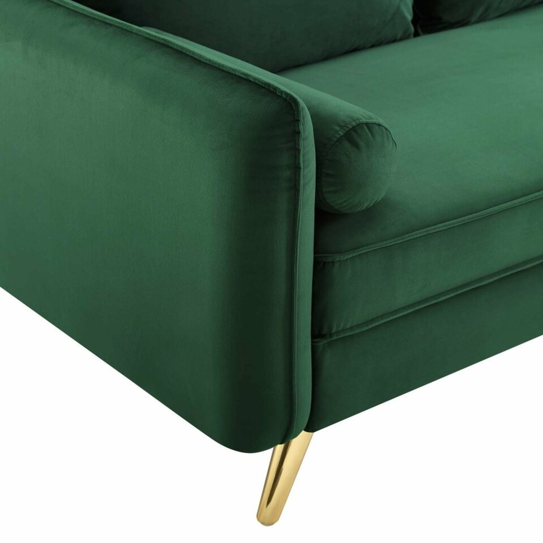 Modern Loveseat In Emerald Velvet FabricUpholstery - image-4