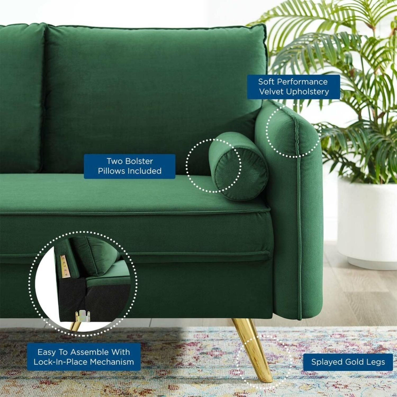 Modern Loveseat In Emerald Velvet FabricUpholstery - image-6