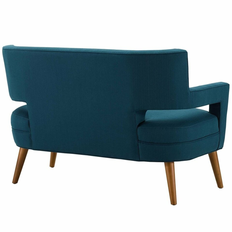 Mid-Century Modern Loveseat In Azure Fabric - image-2