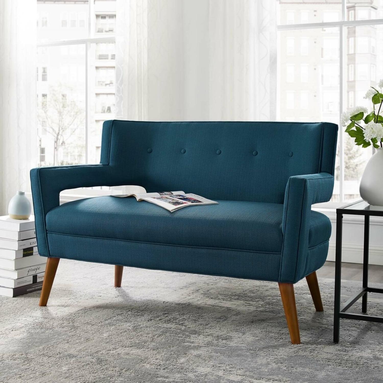 Mid-Century Modern Loveseat In Azure Fabric - image-5
