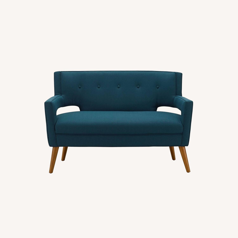Mid-Century Modern Loveseat In Azure Fabric - image-7