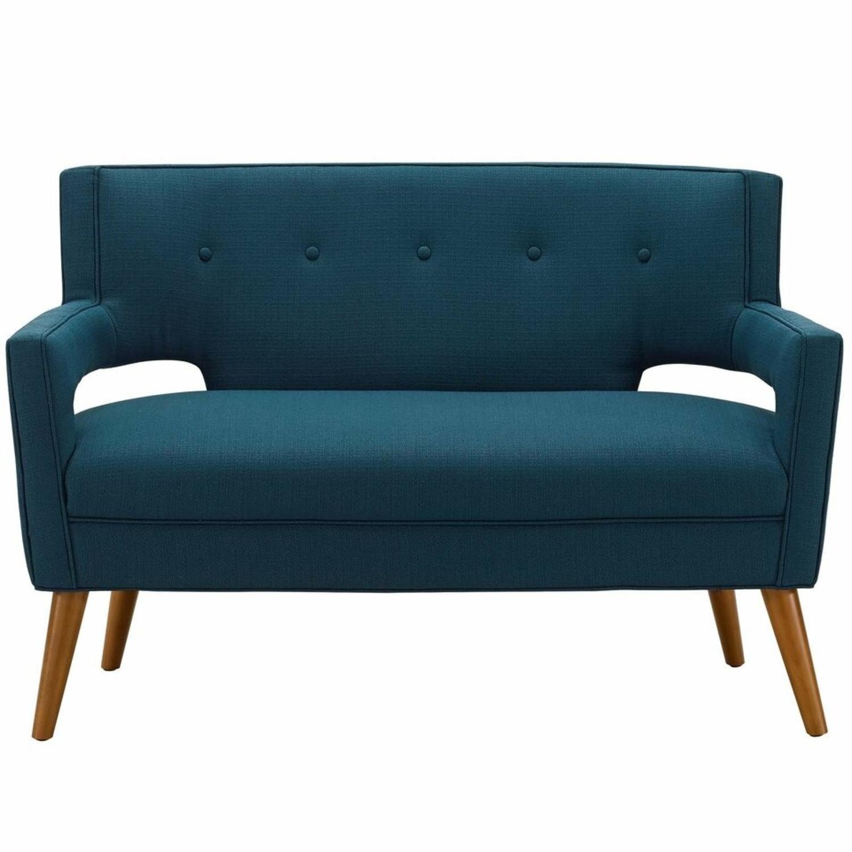 Mid-Century Modern Loveseat In Azure Fabric - image-1