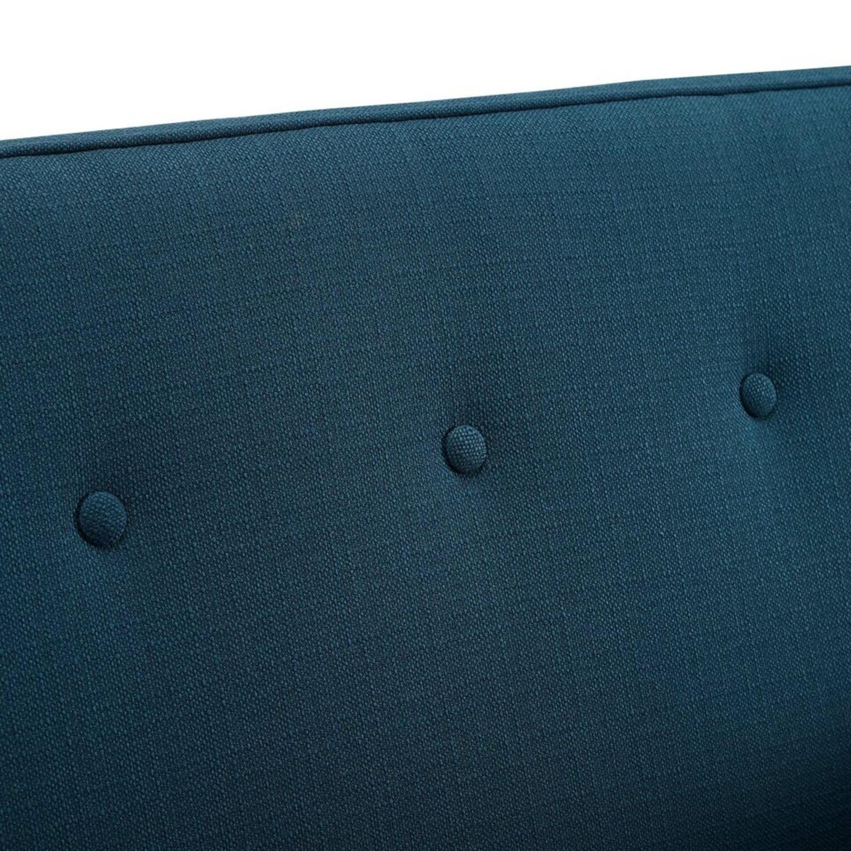 Mid-Century Modern Loveseat In Azure Fabric - image-3