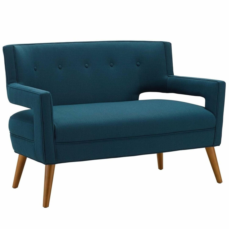 Mid-Century Modern Loveseat In Azure Fabric - image-0