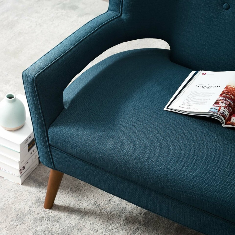 Mid-Century Modern Loveseat In Azure Fabric - image-4