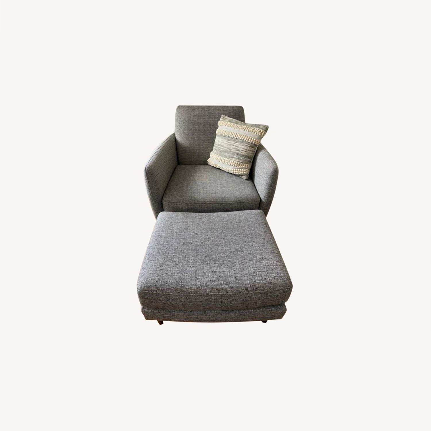 CB2 Grey Upholstered Parlour Chair and Ottoman - image-0