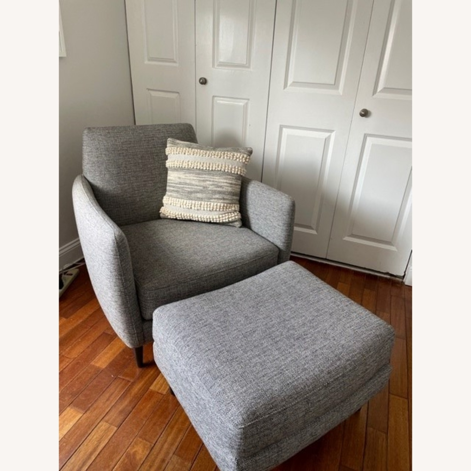 CB2 Grey Upholstered Parlour Chair and Ottoman - image-1