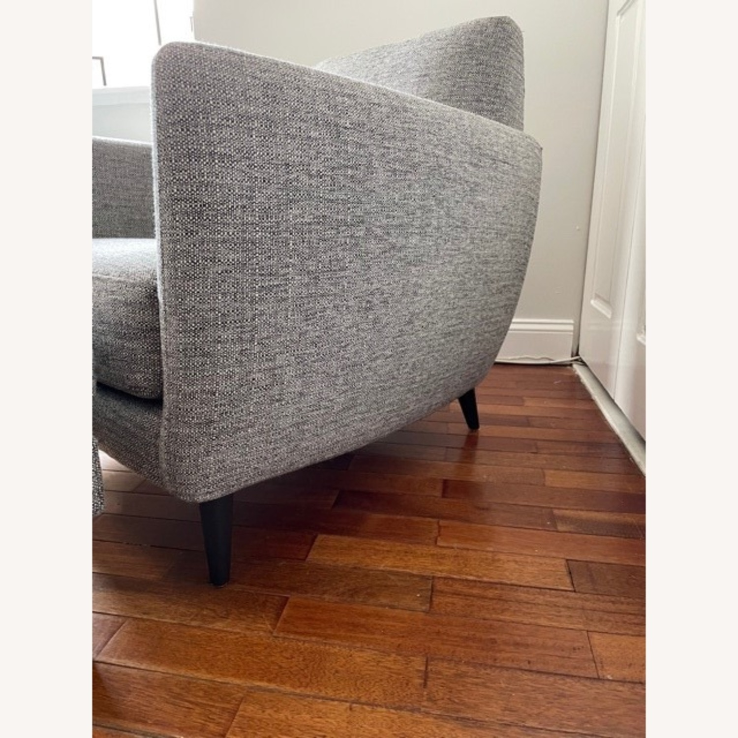 CB2 Grey Upholstered Parlour Chair and Ottoman - image-4