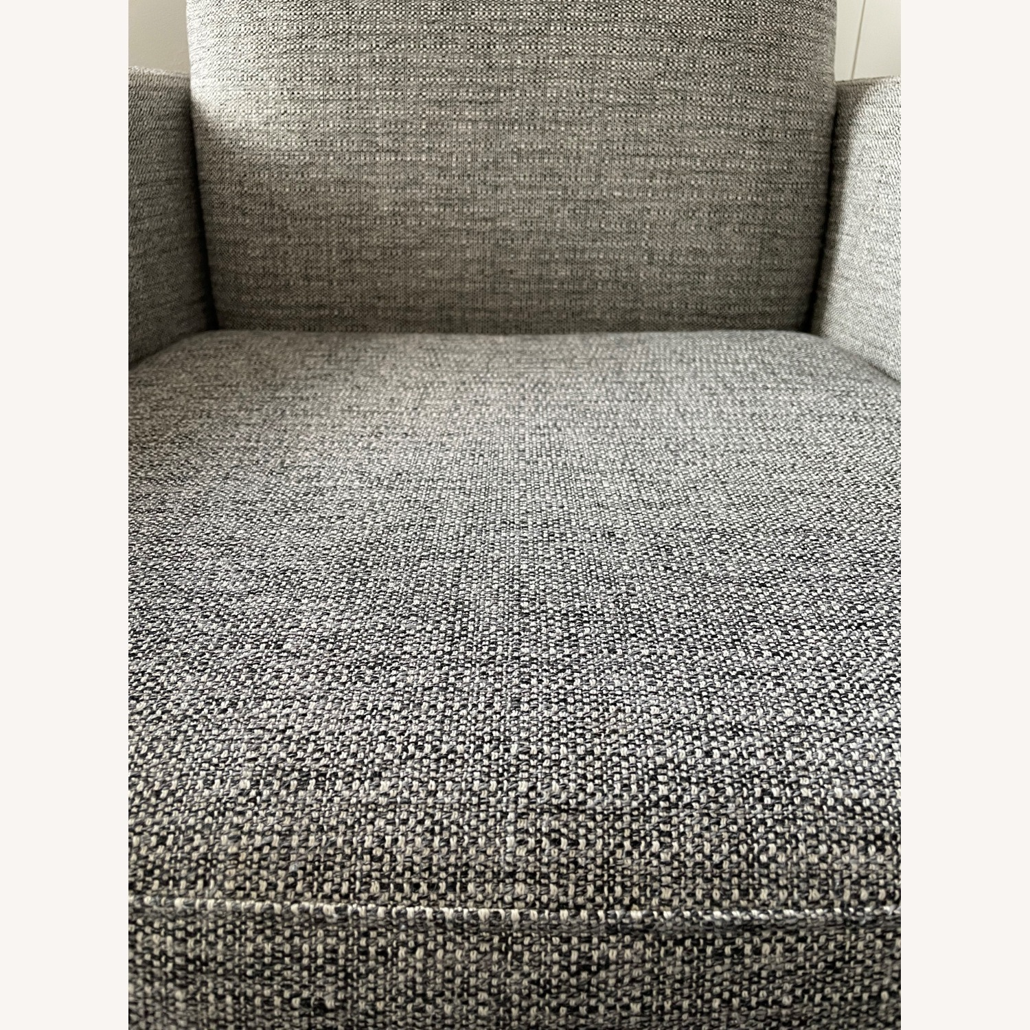 CB2 Grey Upholstered Parlour Chair and Ottoman - image-3