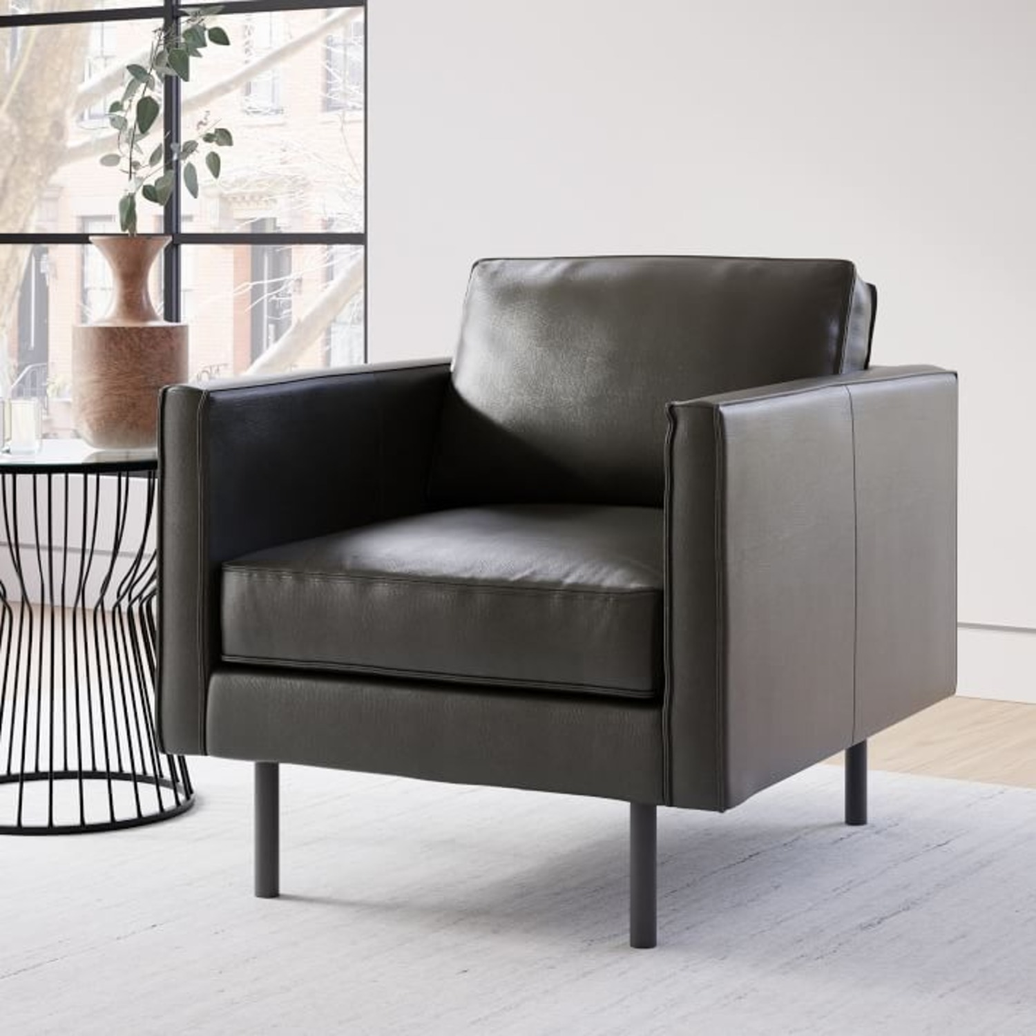 West Elm Axel Leather Armchair - image-1