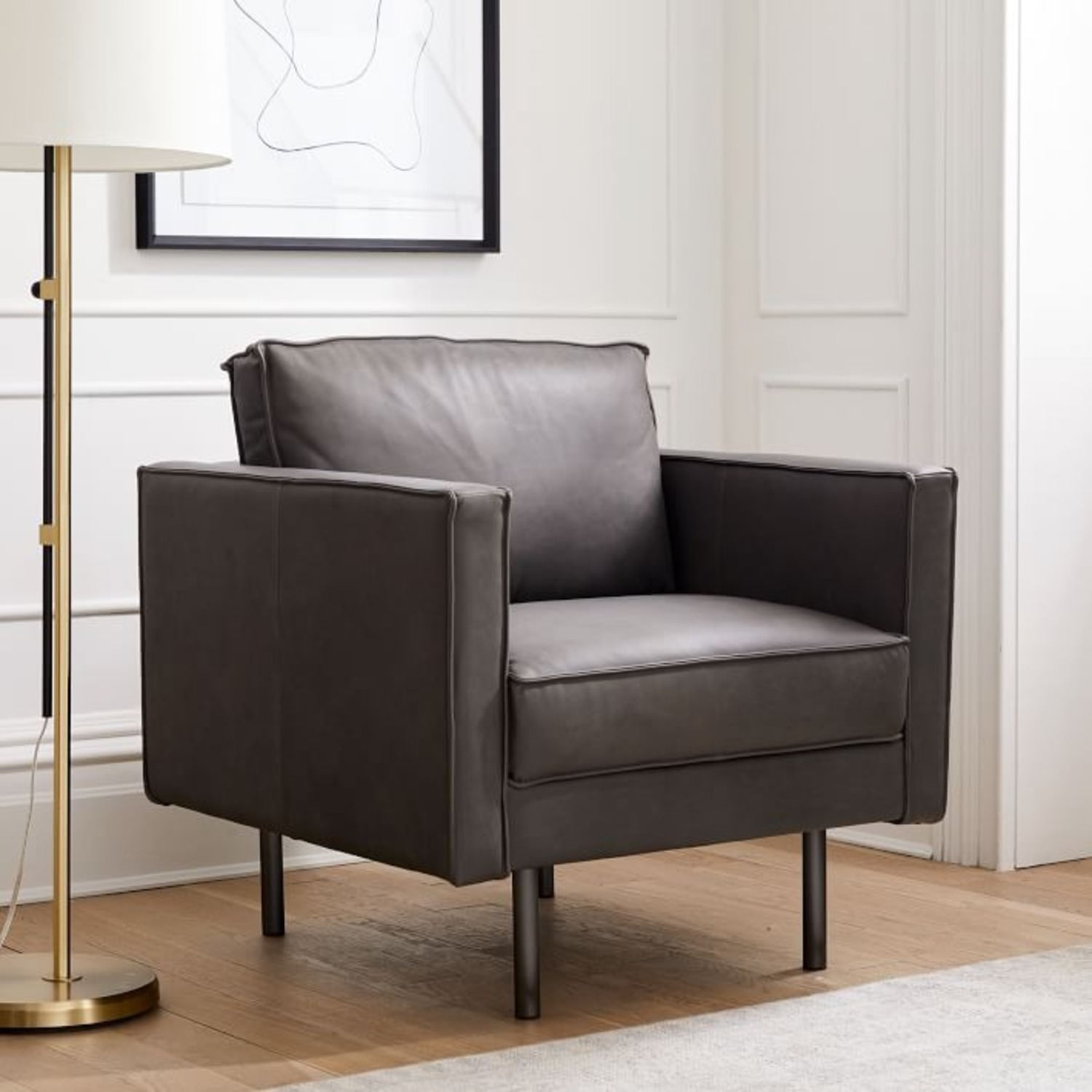 West Elm Axel Leather Armchair - image-3