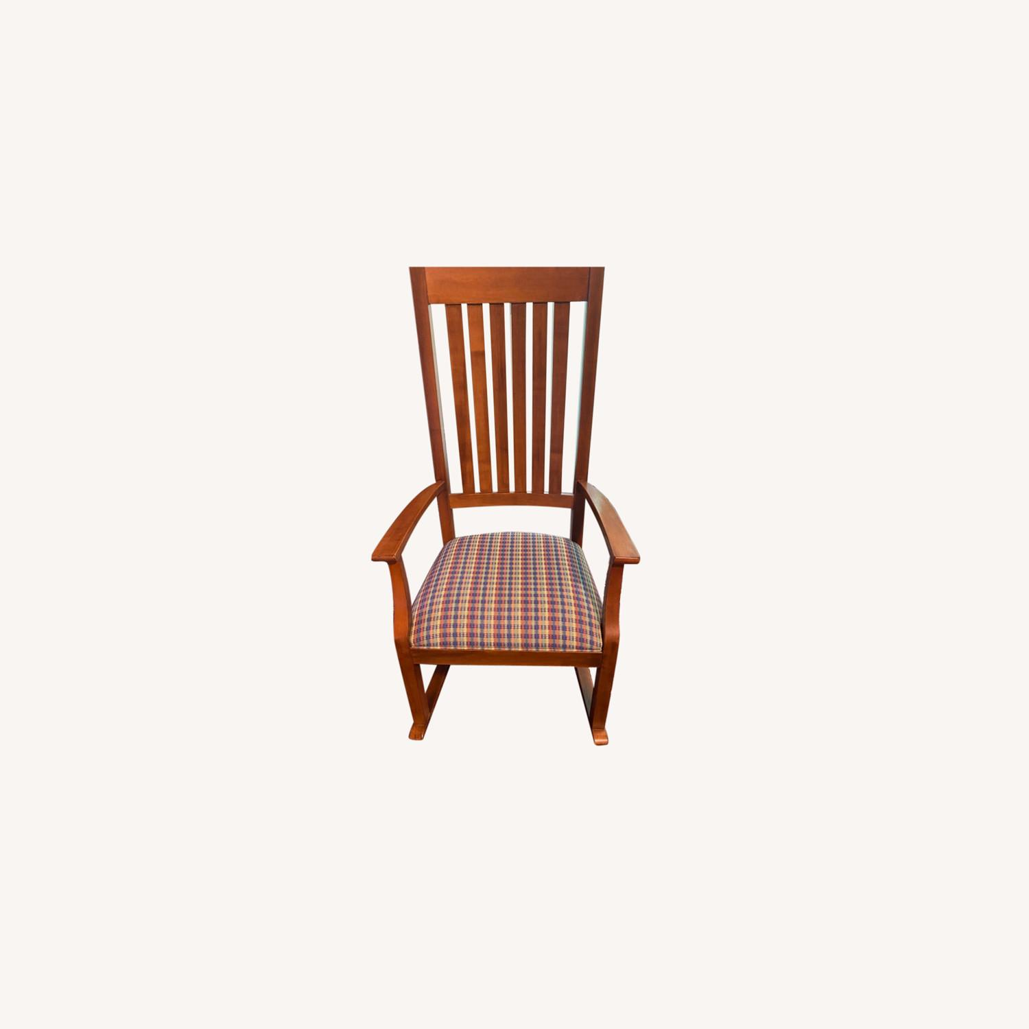 Ethan Allen Wood and cotton Fabric Chair - image-0