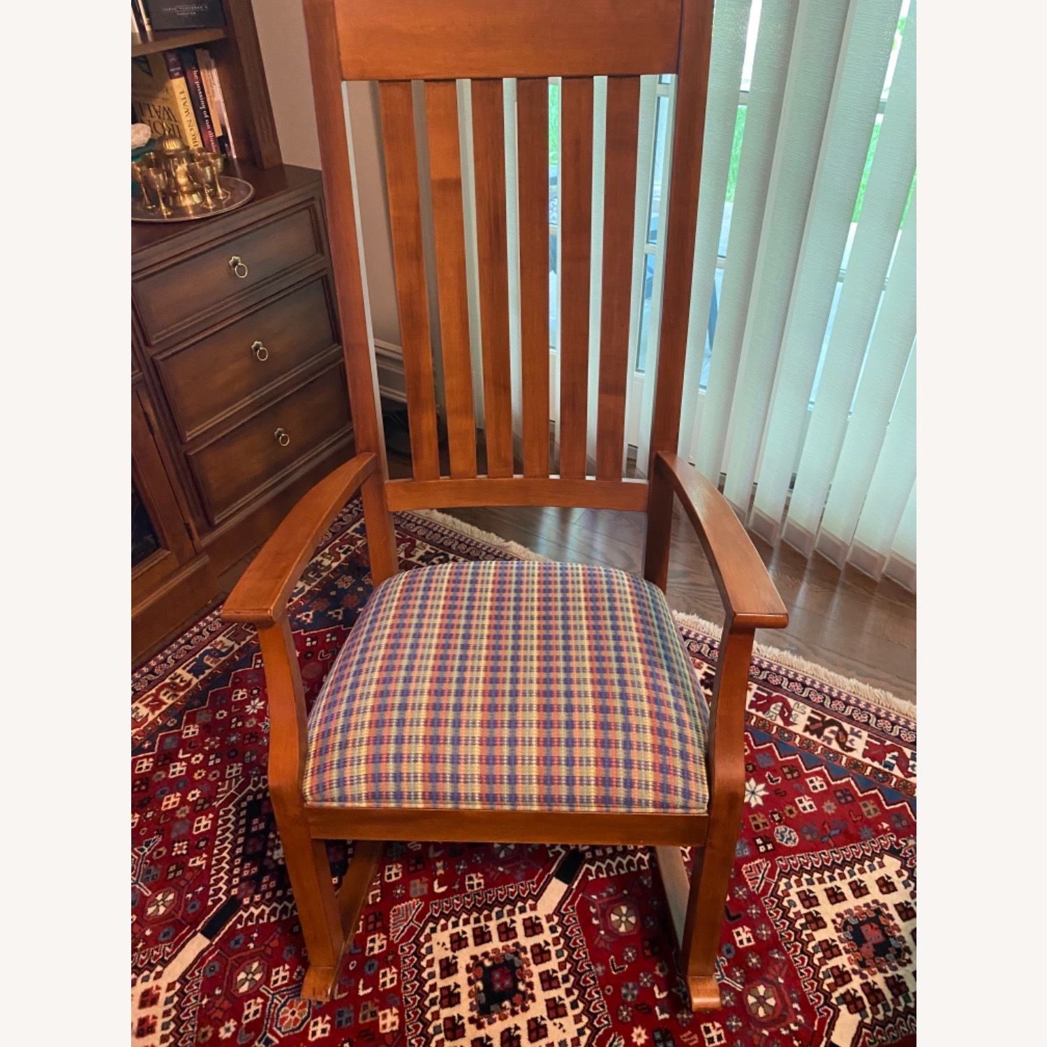 Ethan Allen Wood and cotton Fabric Chair - image-1