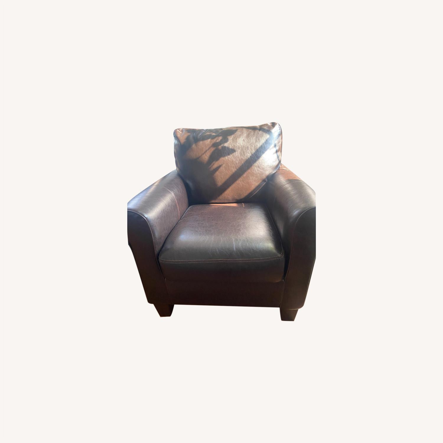 Ashley Furniture 2 Dark Brown Leather Arm Chairs - image-0