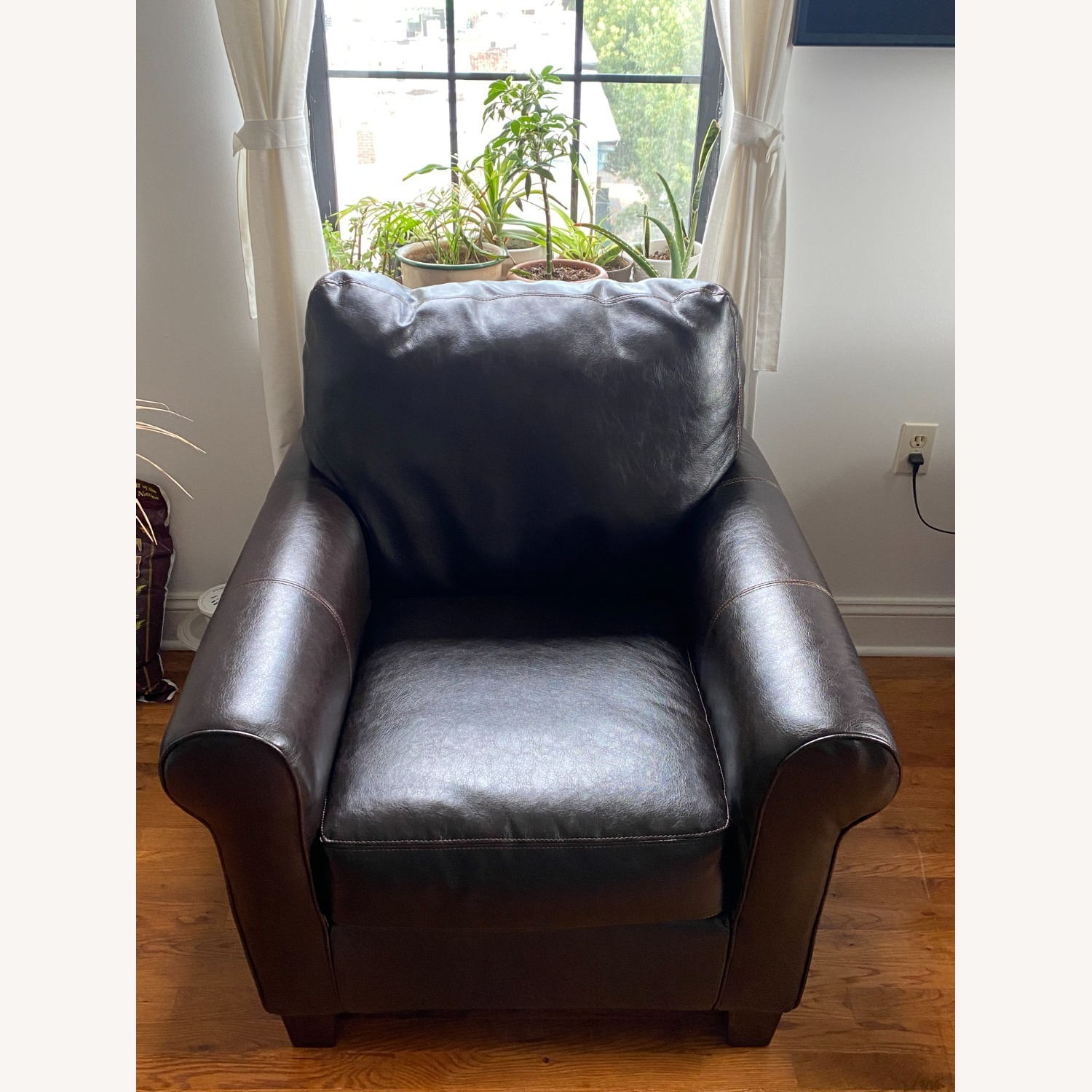 Ashley Furniture 2 Dark Brown Leather Arm Chairs - image-11