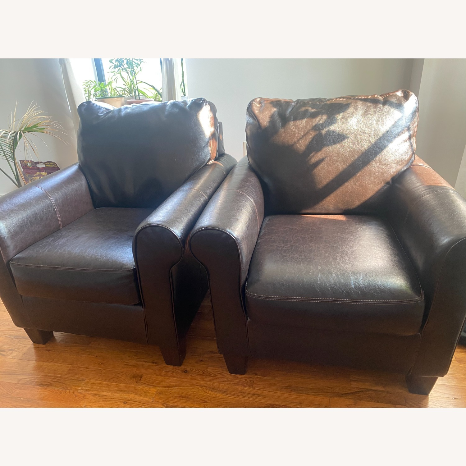 Ashley Furniture 2 Dark Brown Leather Arm Chairs - image-5