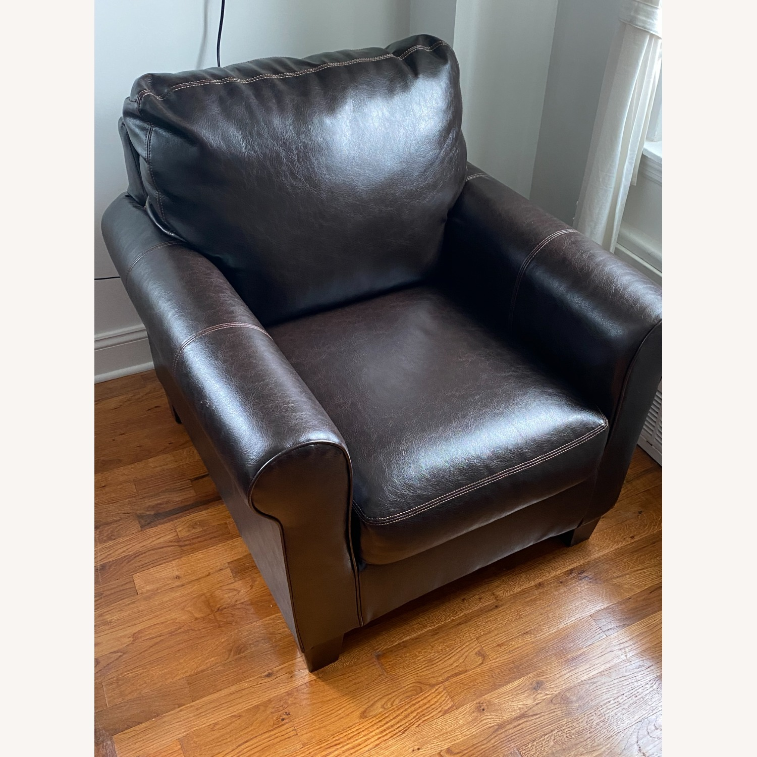 Ashley Furniture 2 Dark Brown Leather Arm Chairs - image-9