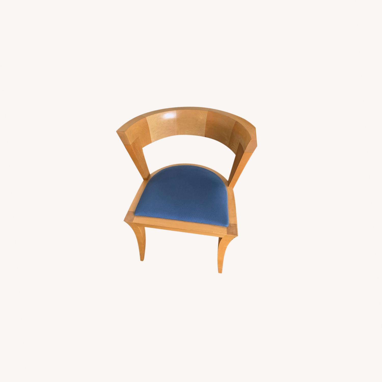 Midcentury Sculpted Chair Blue Velvet Seat - image-0