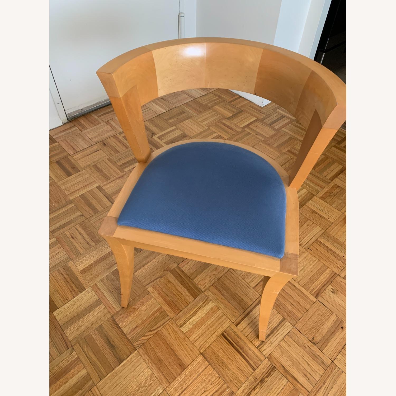 Midcentury Sculpted Chair Blue Velvet Seat - image-1
