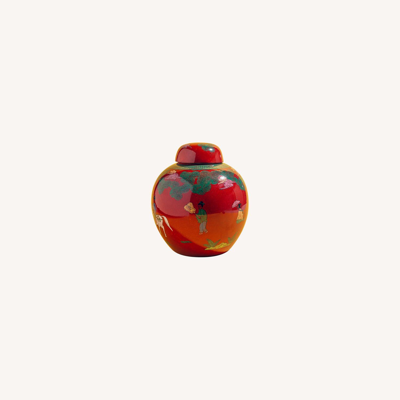 Red Horse & Rider Ginger Jar (Pair) - image-0