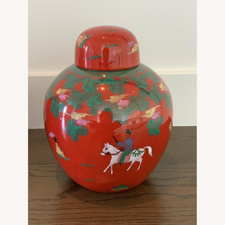 Red Horse & Rider Ginger Jar (Pair) - image-3