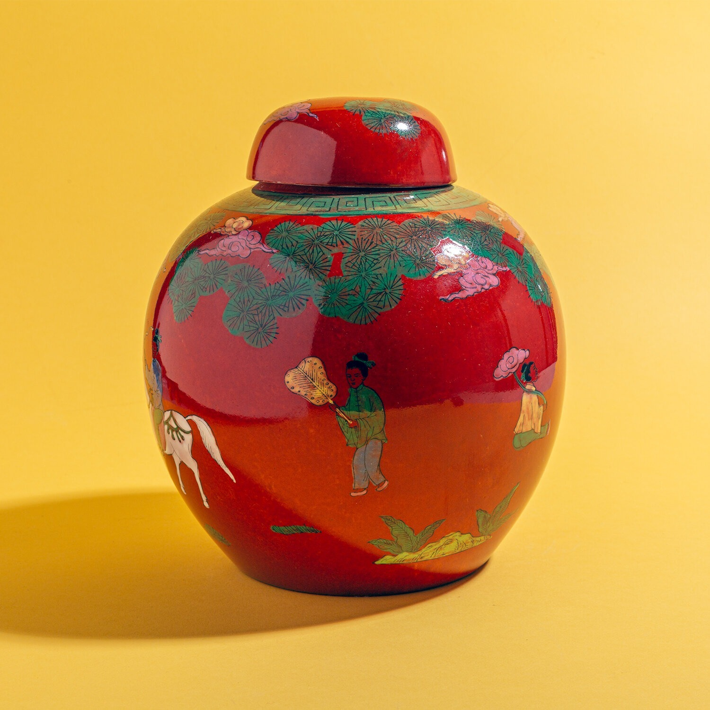 Red Horse & Rider Ginger Jar (Pair) - image-4