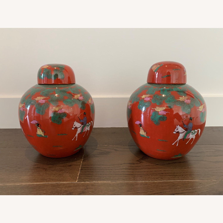 Red Horse & Rider Ginger Jar (Pair) - image-2