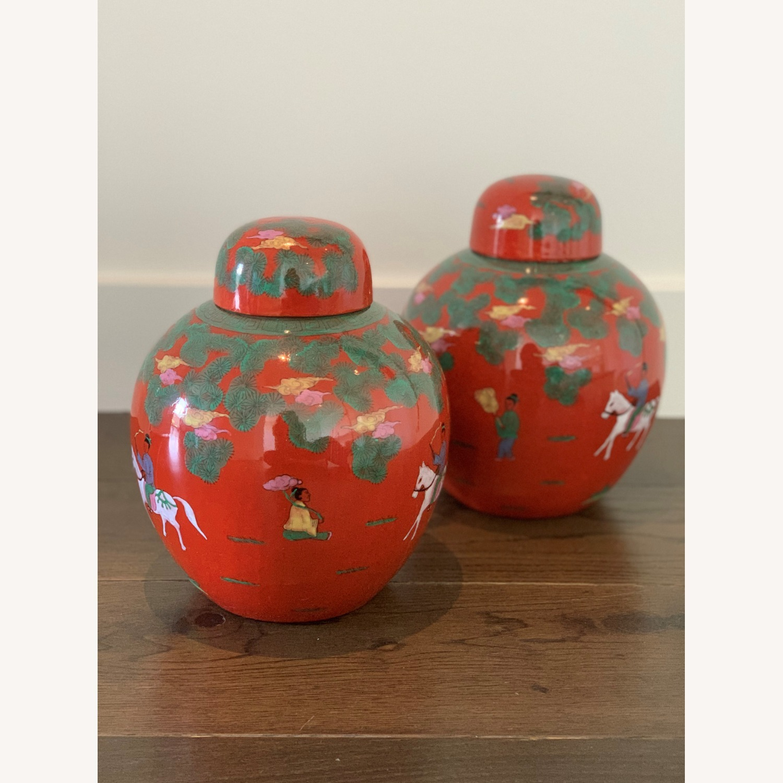 Red Horse & Rider Ginger Jar (Pair) - image-1