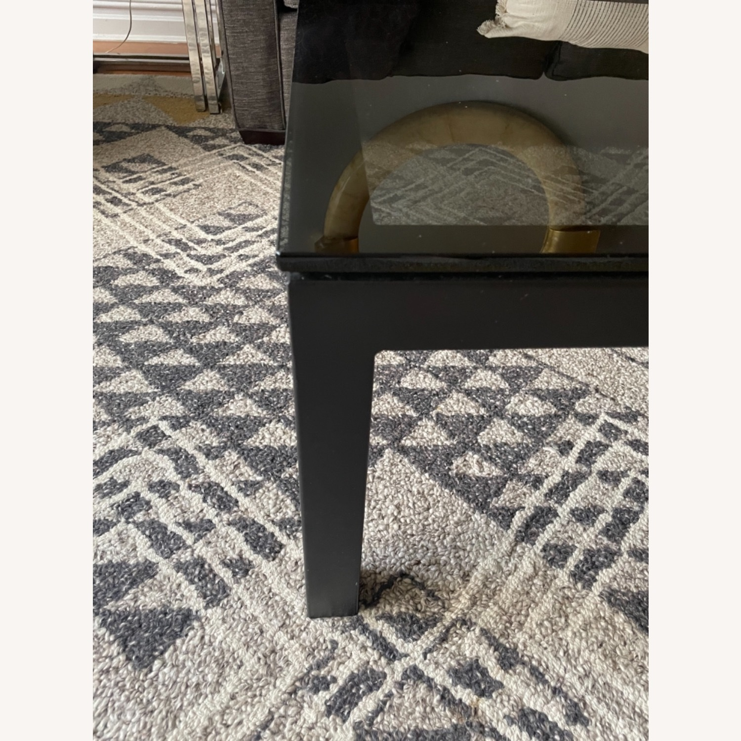 Crate and Barrel Smoked Glass Black Coffee Table - image-5
