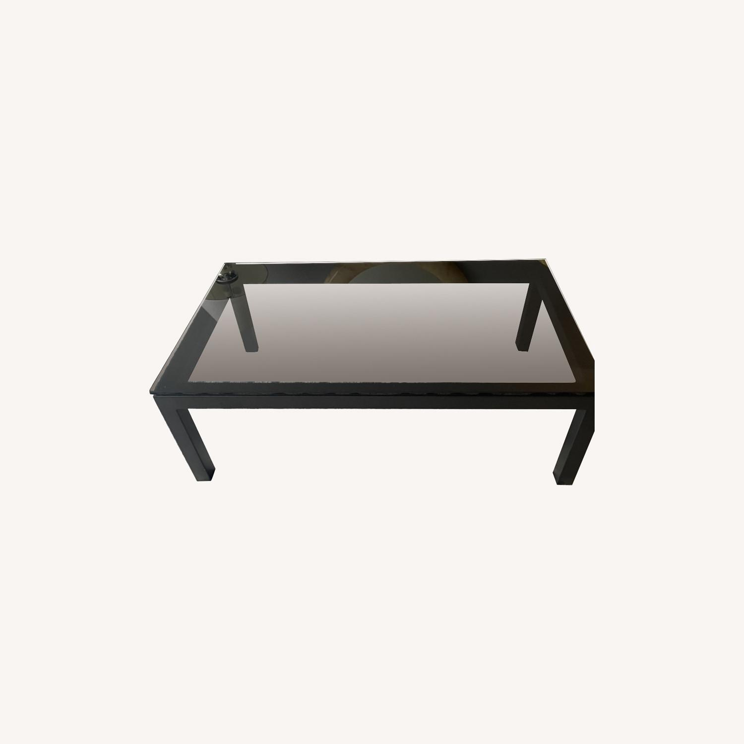 Crate and Barrel Smoked Glass Black Coffee Table - image-0