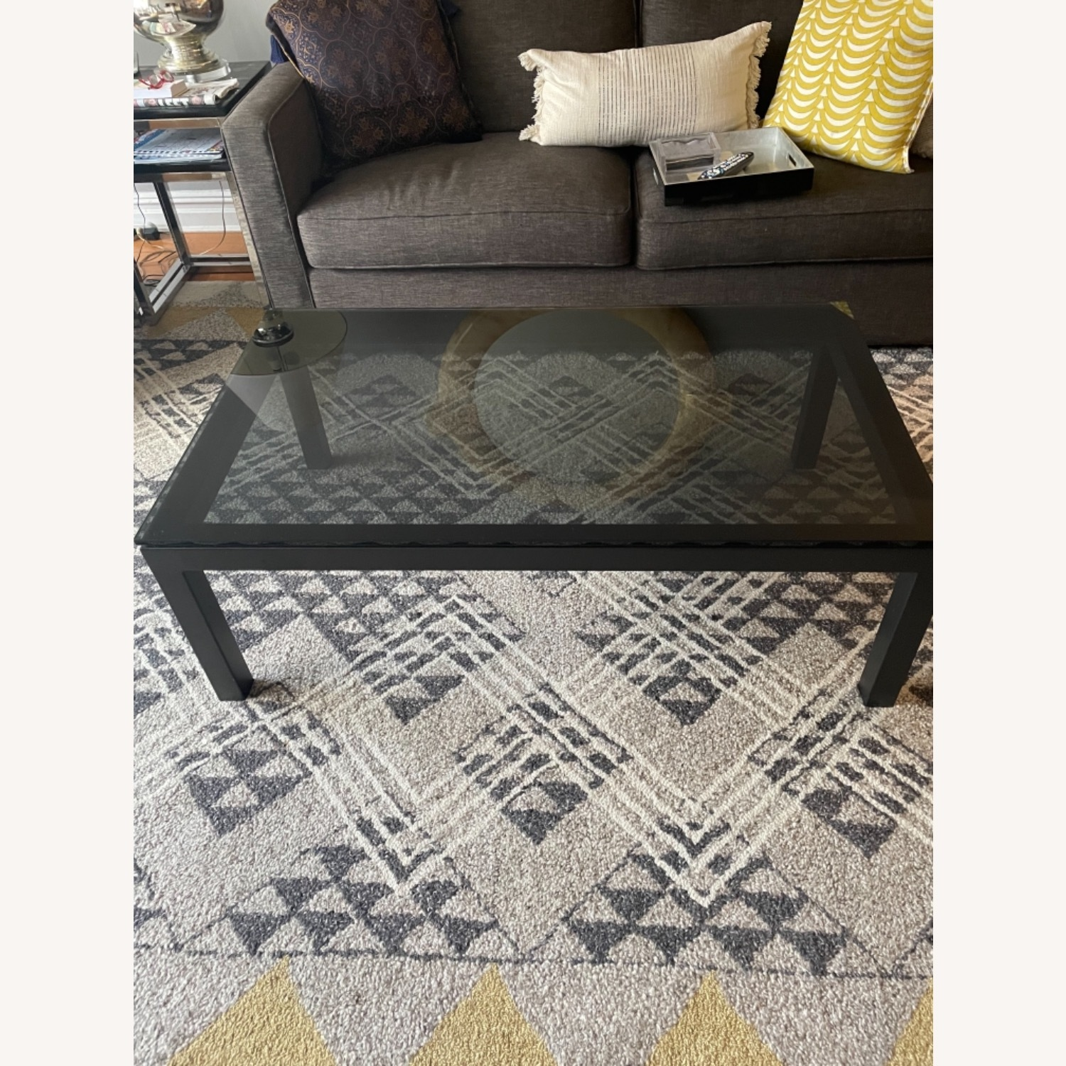 Crate and Barrel Smoked Glass Black Coffee Table - image-3