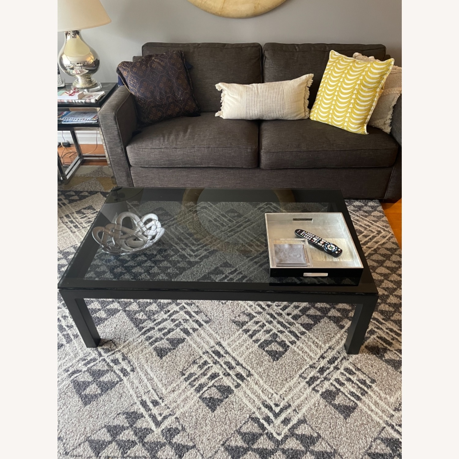 Crate and Barrel Smoked Glass Black Coffee Table - image-1