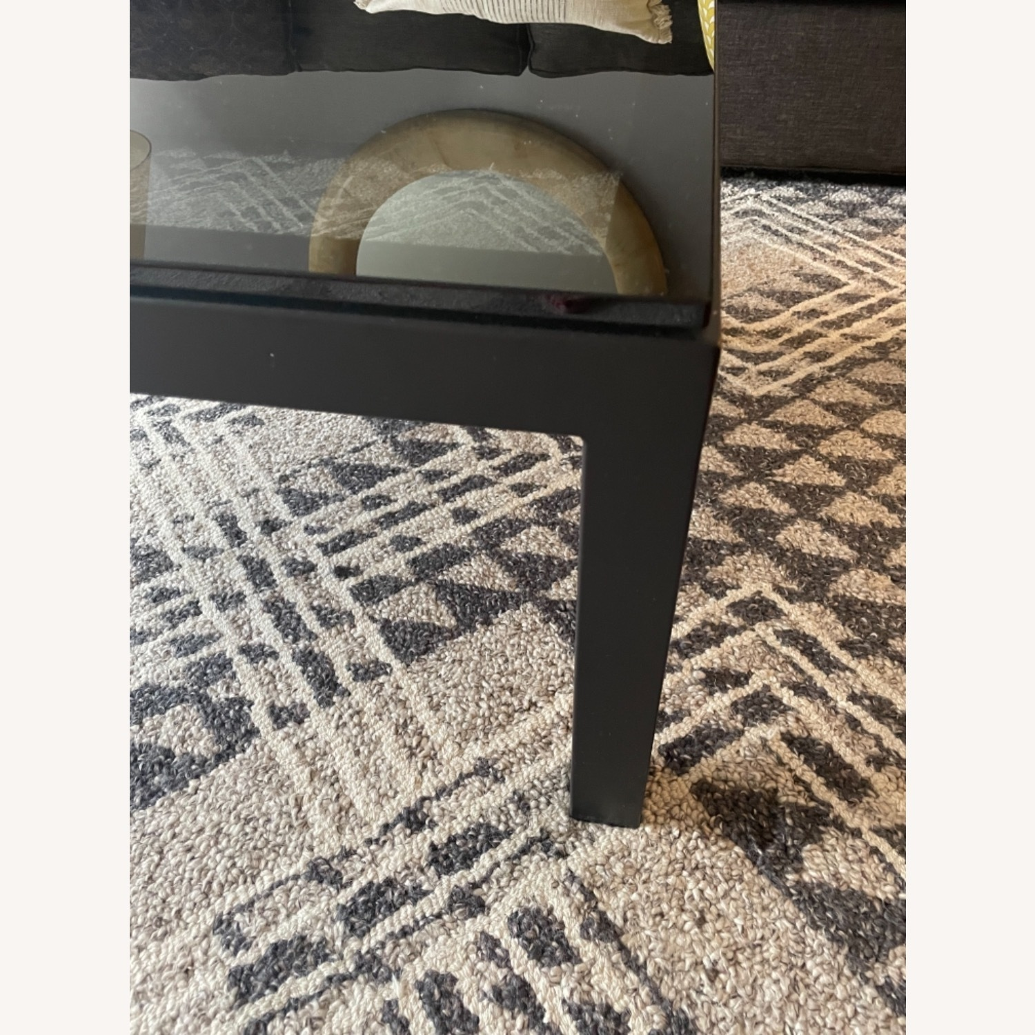 Crate and Barrel Smoked Glass Black Coffee Table - image-4