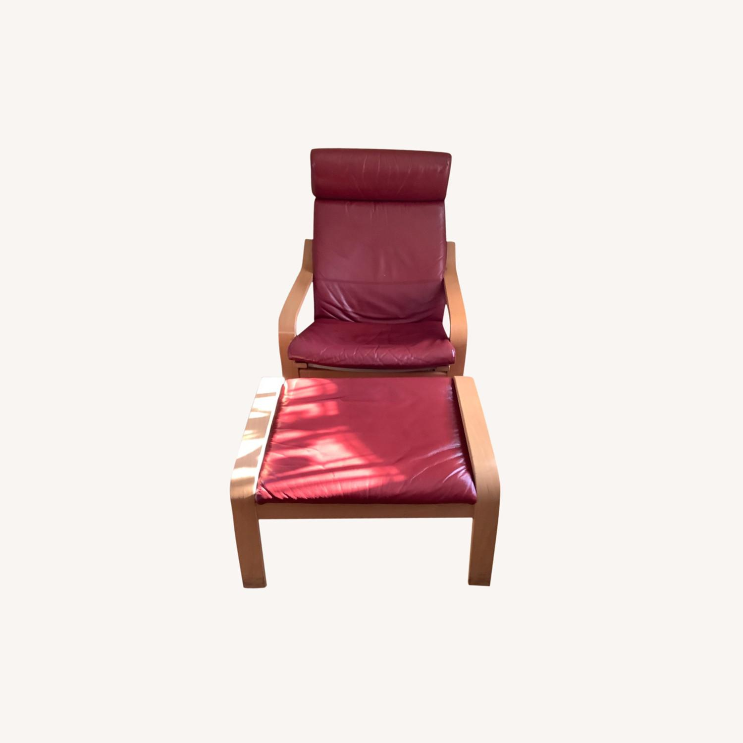 Red Leather Recliner with Foot Stool - image-7