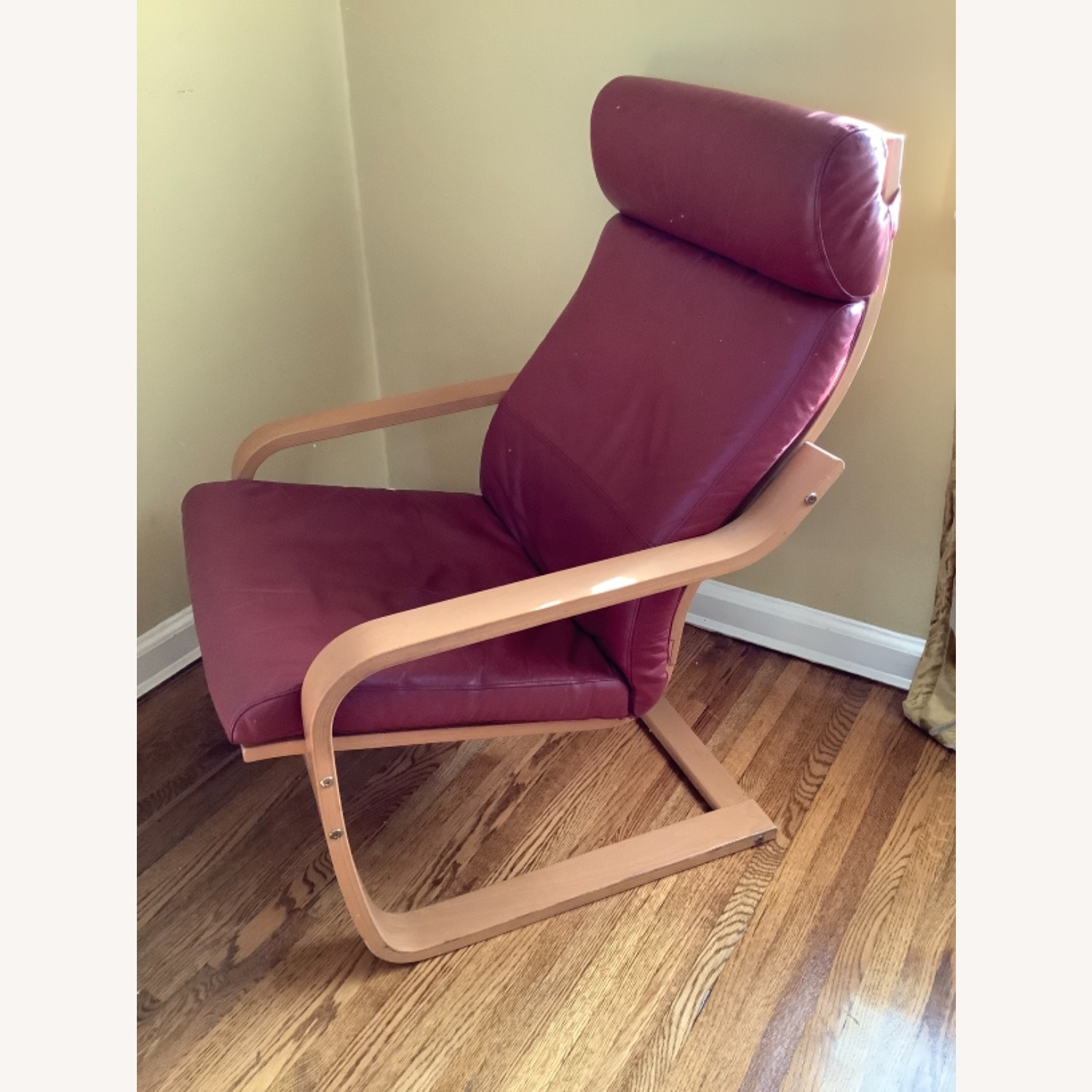Red Leather Recliner with Foot Stool - image-2
