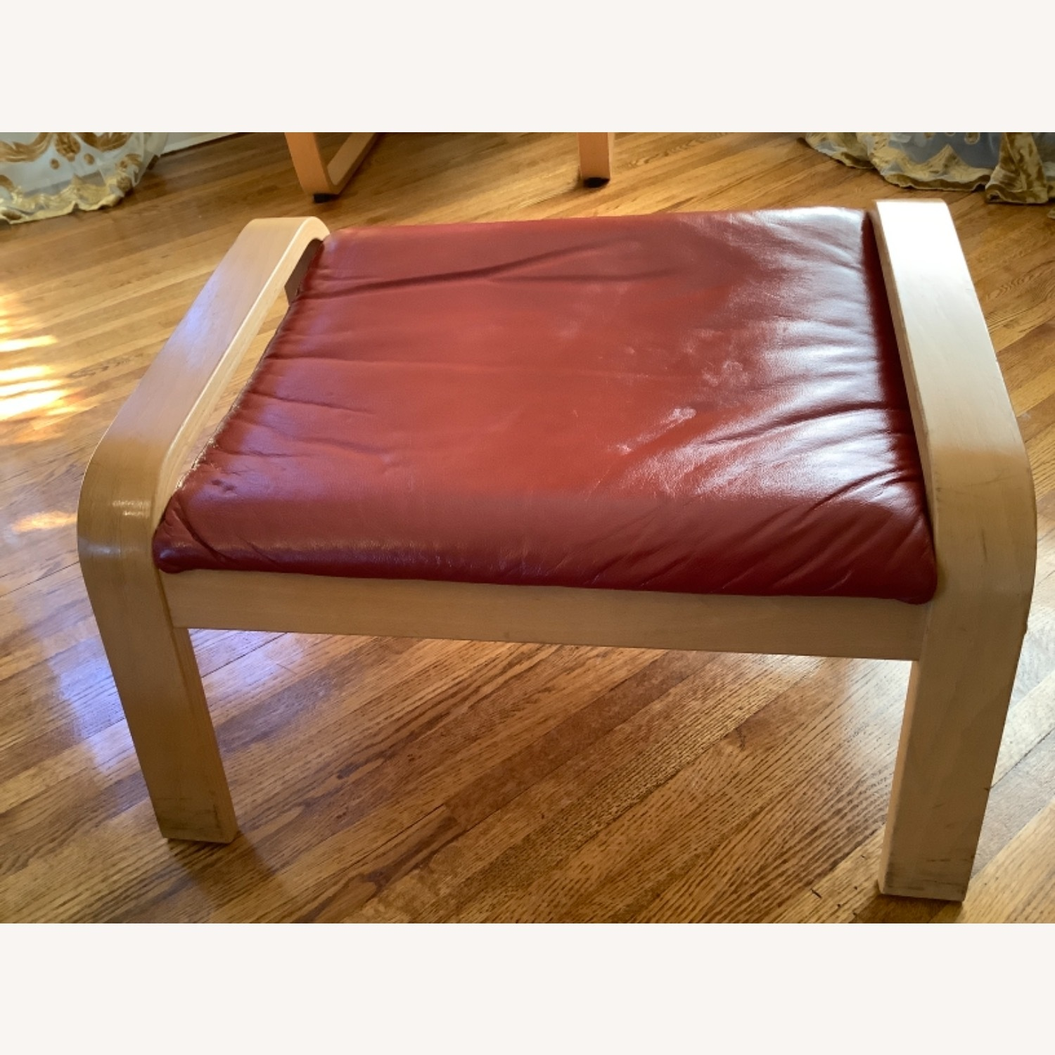 Red Leather Recliner with Foot Stool - image-5