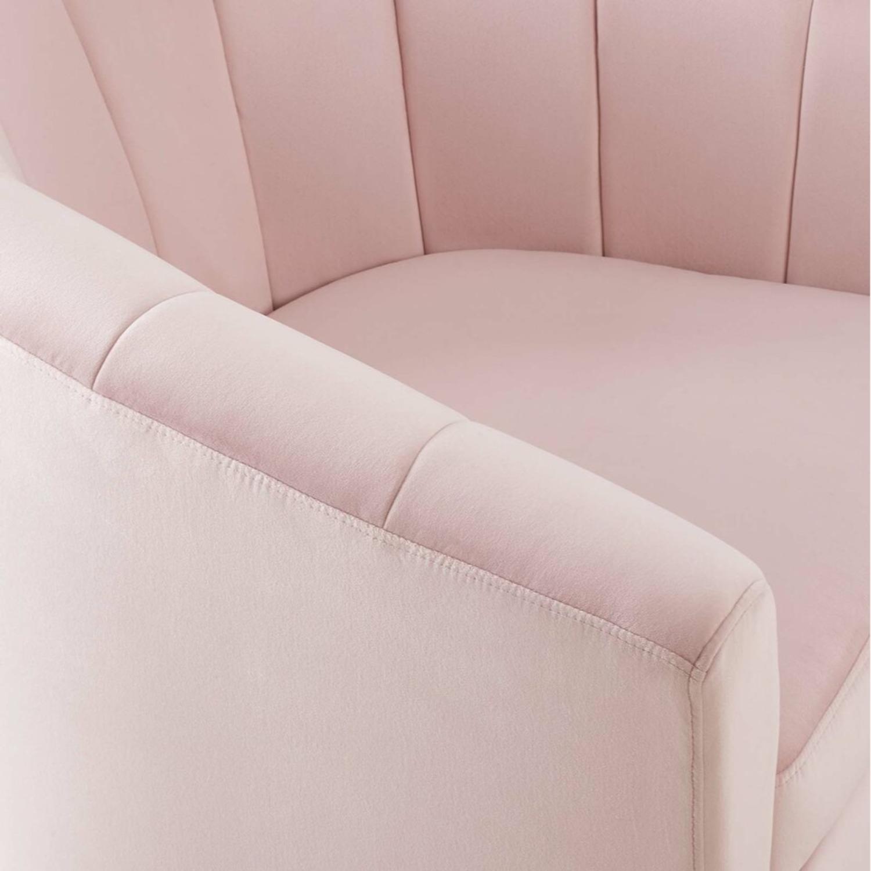 Swivel Armchair In Pink Velvet Finish - image-4