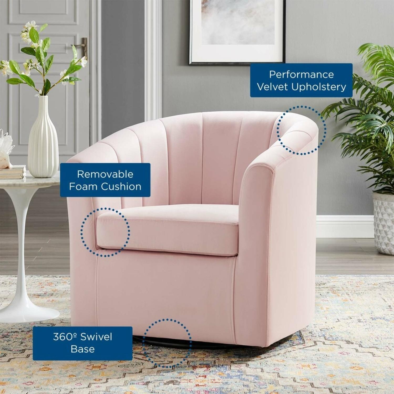 Swivel Armchair In Pink Velvet Finish - image-6