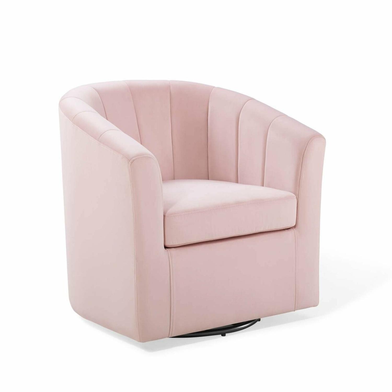 Swivel Armchair In Pink Velvet Finish - image-0